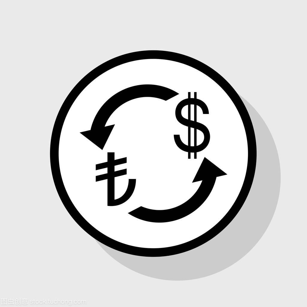货币汇率的标志。土耳其里拉和我们美元。矢量