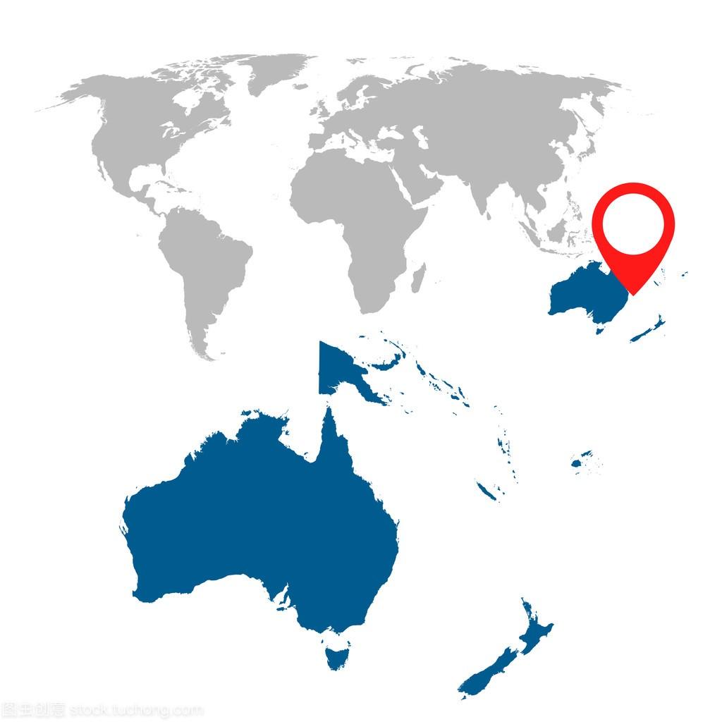 澳大利亚、 大洋洲和世界地图导航集的详细的