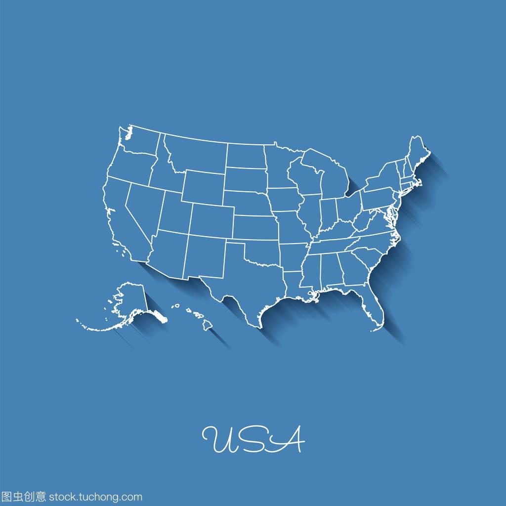 美国地区地图蓝色与白色轮廓和阴影蓝色背景的