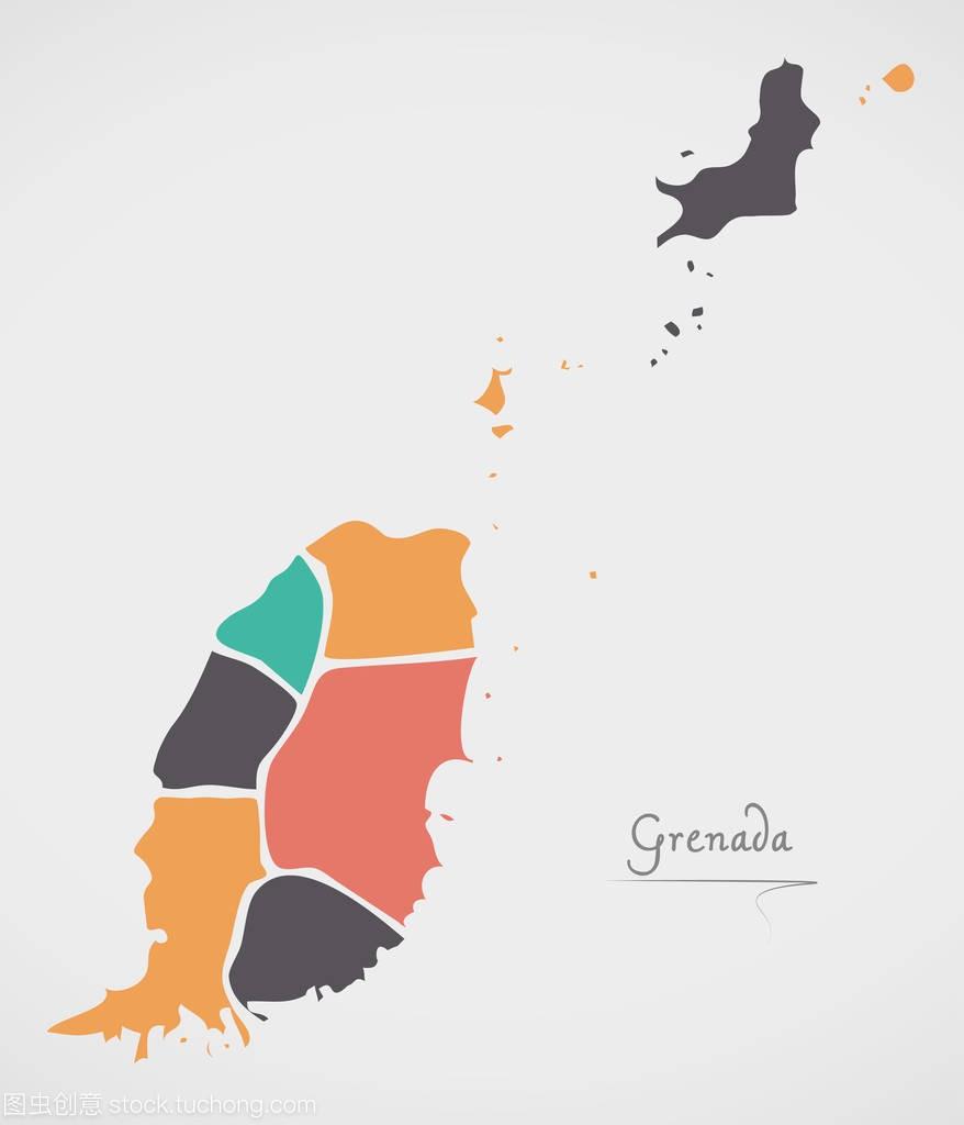 格林纳达地图与国家和现代的圆形状