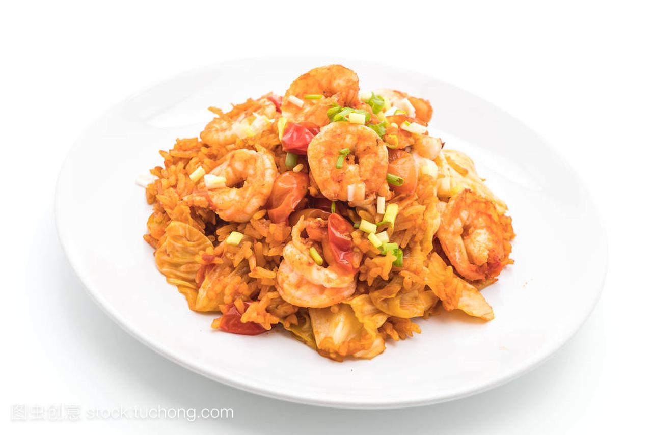 韩国辣酱和虾炒饭/