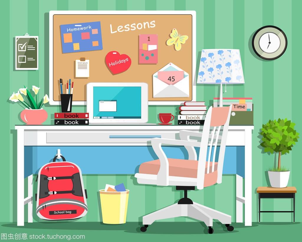 凉快的现代少年房间与工作场所: 桌、椅子、板