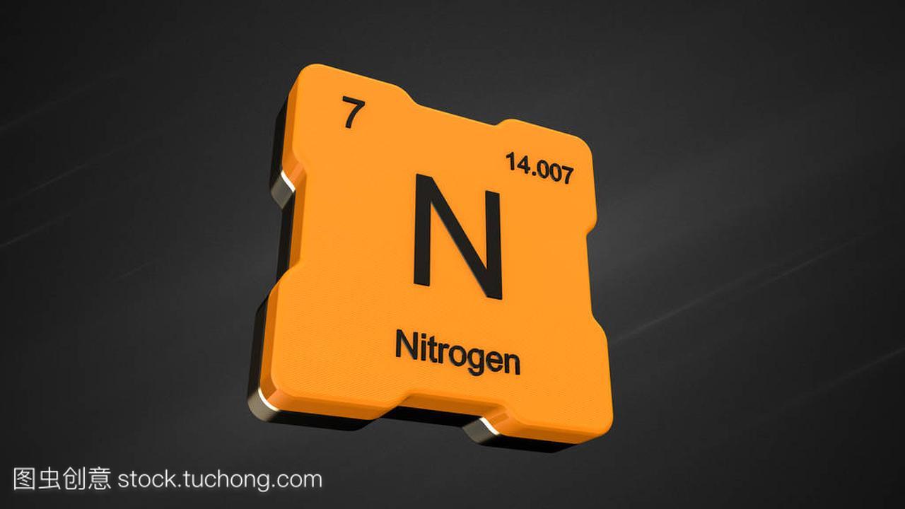 氮元素数7从周期表中的未来黄色图标和漂亮的