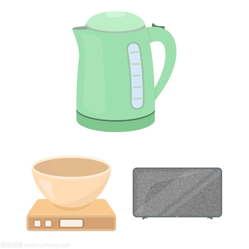 家用电器的类型卡通图标集合中的设计。厨房设