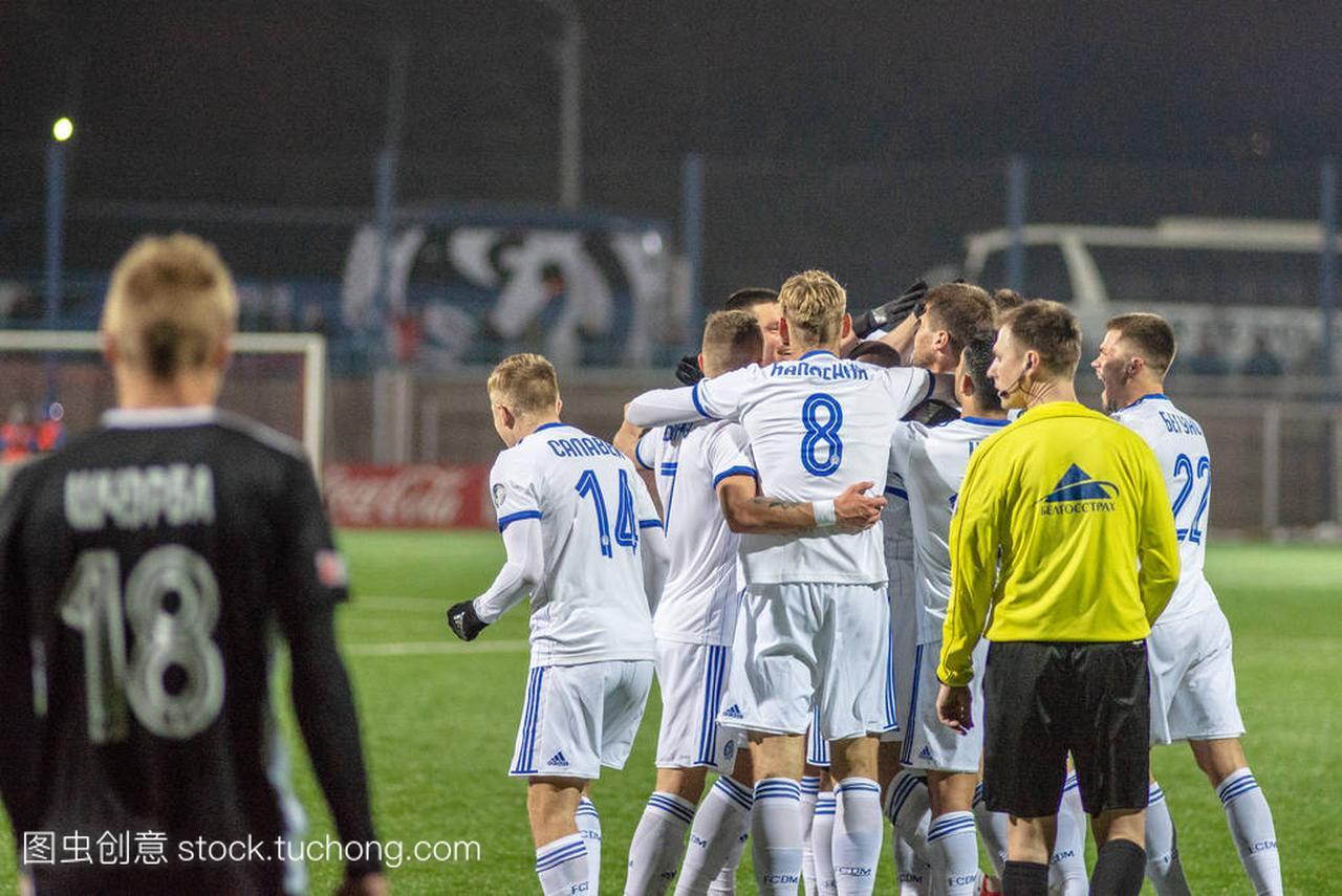 明斯克, 白俄罗斯-2018年3月31日: 足球运动员
