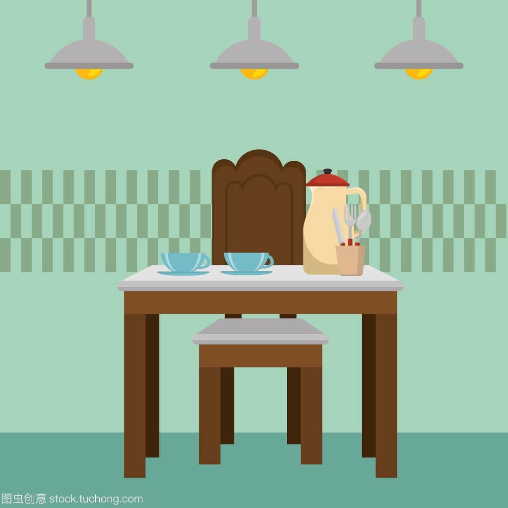 dinning room table kitchen scene