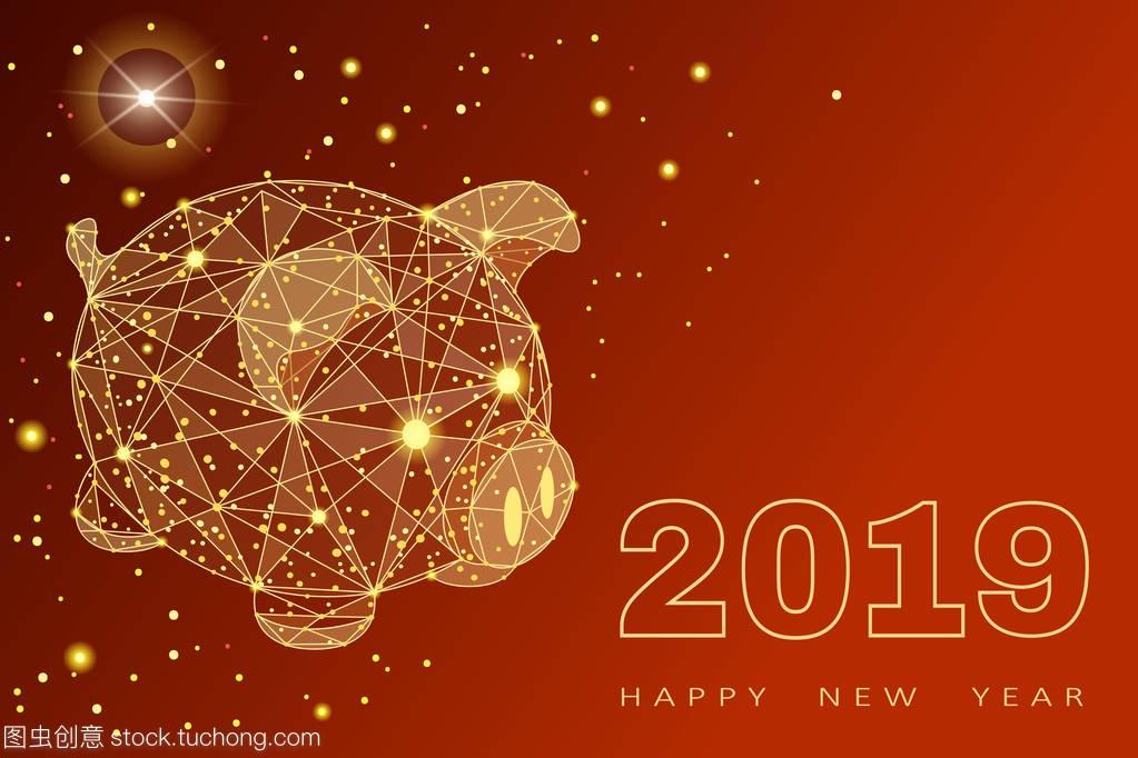 可爱的滑稽猪。新年快乐。中国象征2019年。