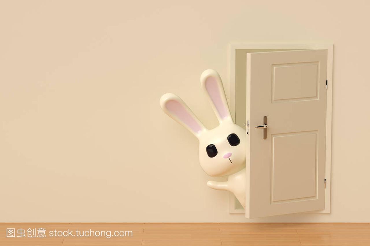 A cartoon rabbit at back on the door,3D illustra