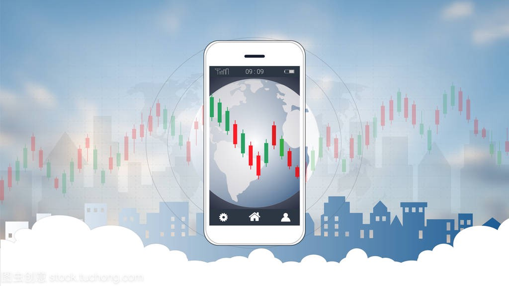 Mobile stock trading concept with candlestick a