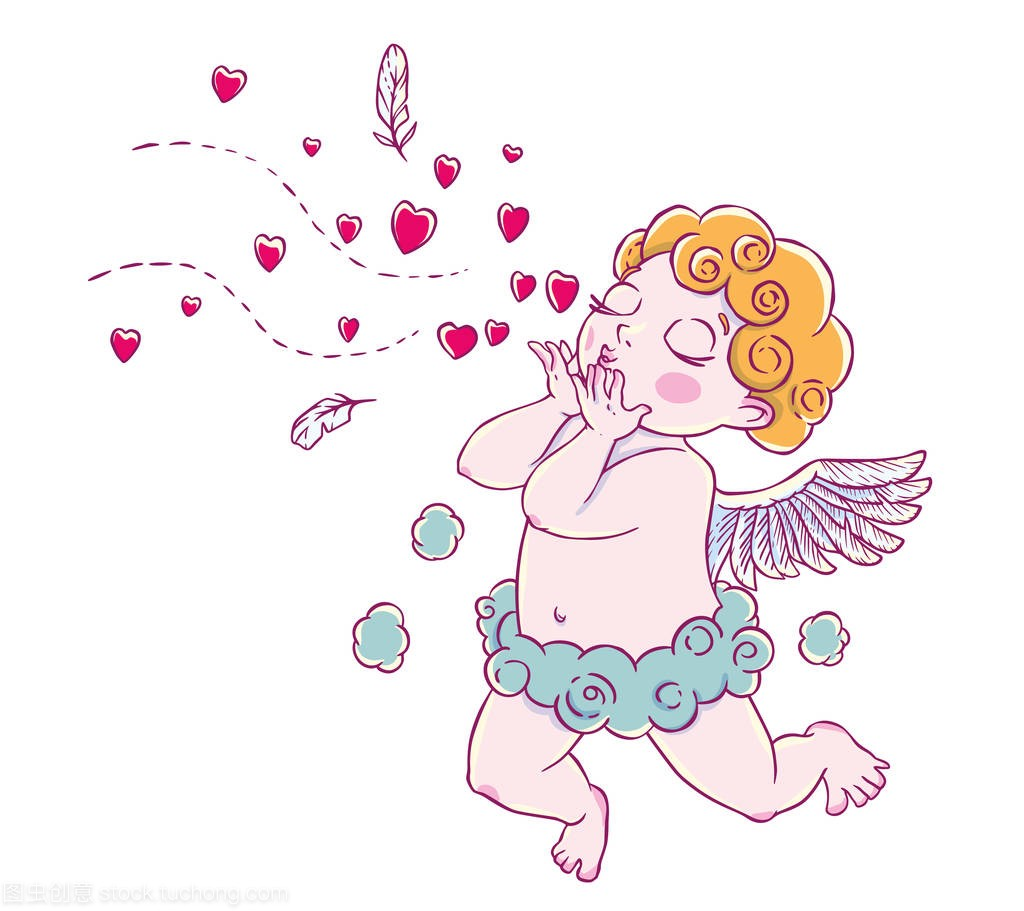 Valentine's day. Cupid-boy cloud pants knelt an