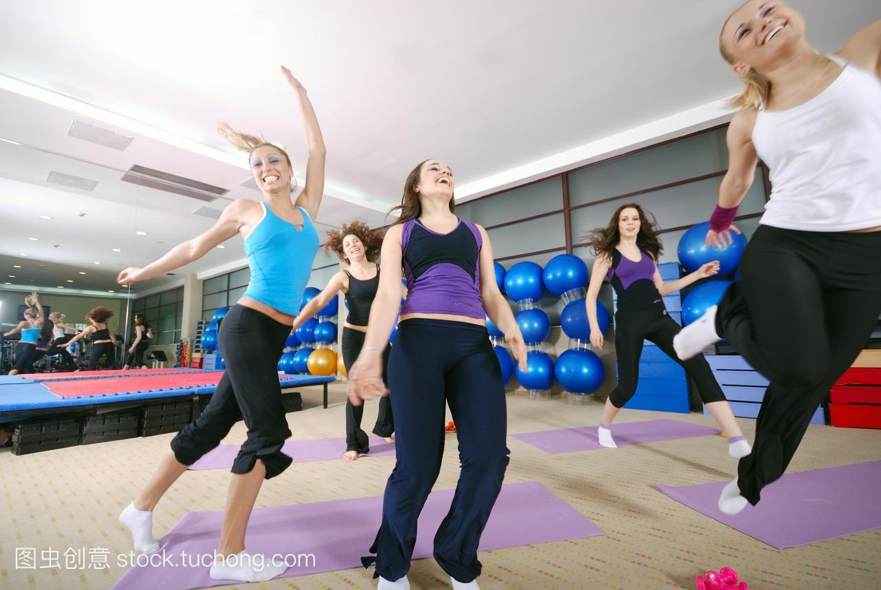 健康,生命力,康健,俱乐部,女孩,舞蹈,健身房,姑娘