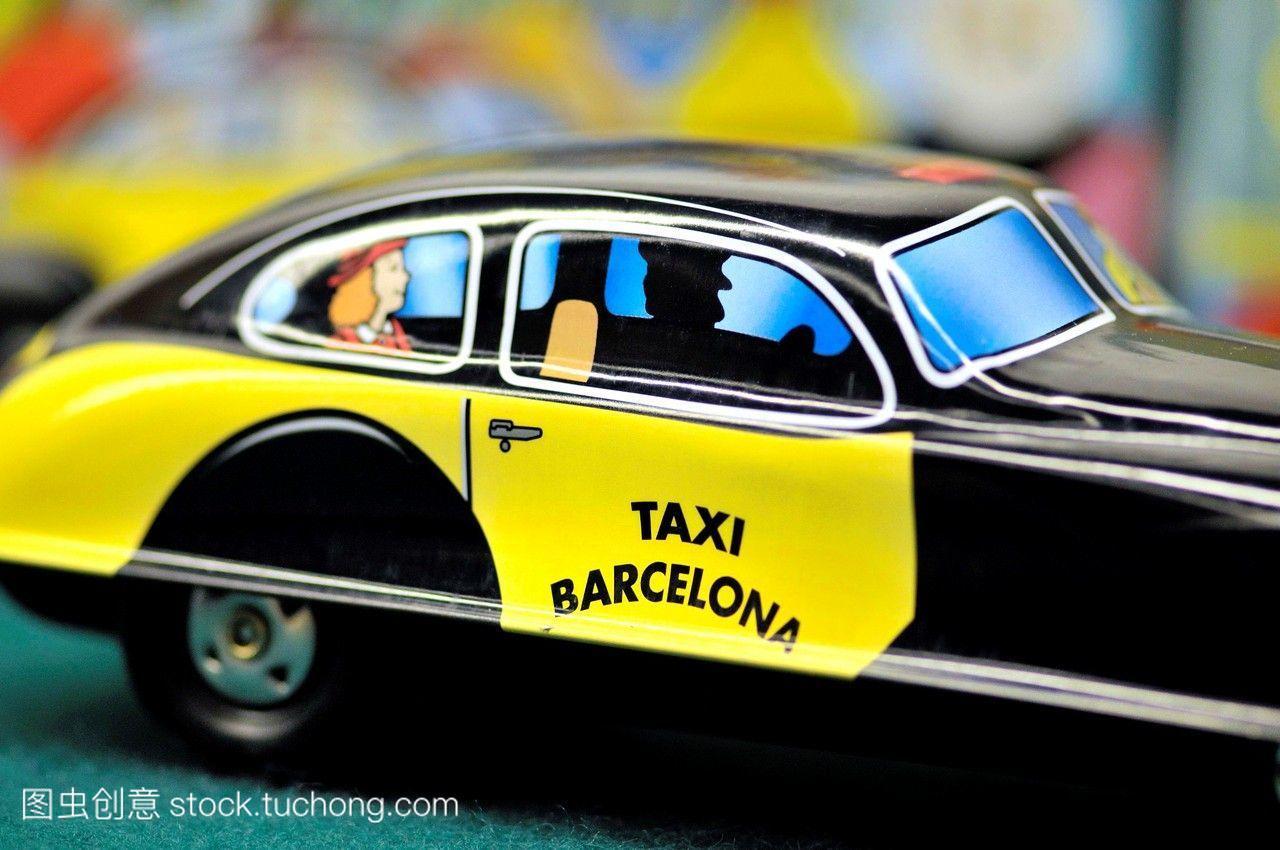 巴塞罗那出租车的windup玩具在vin