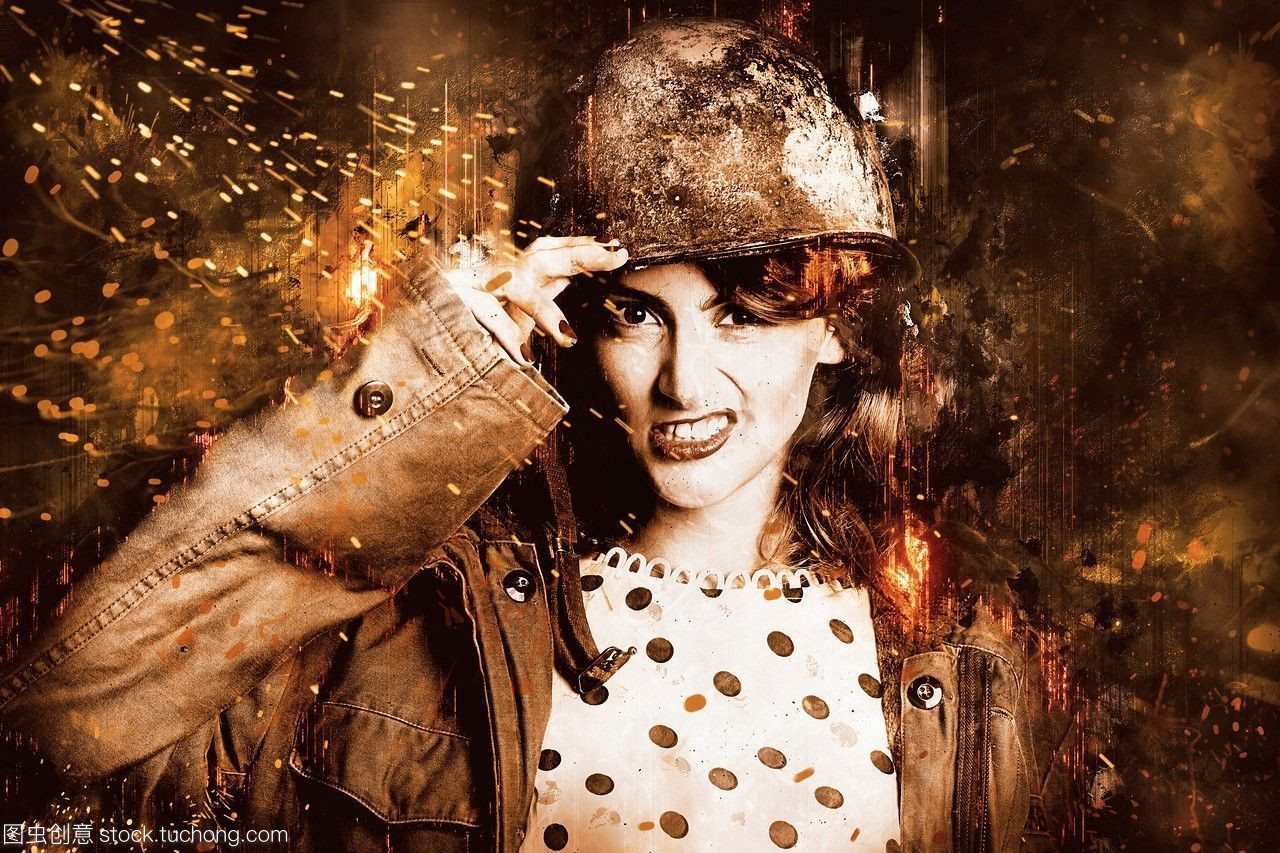 数字艺术的一个美丽的年轻女人打一场战役规模的混乱激烈的易爆遭战争蹂躏的战场。艰难的销了士兵。