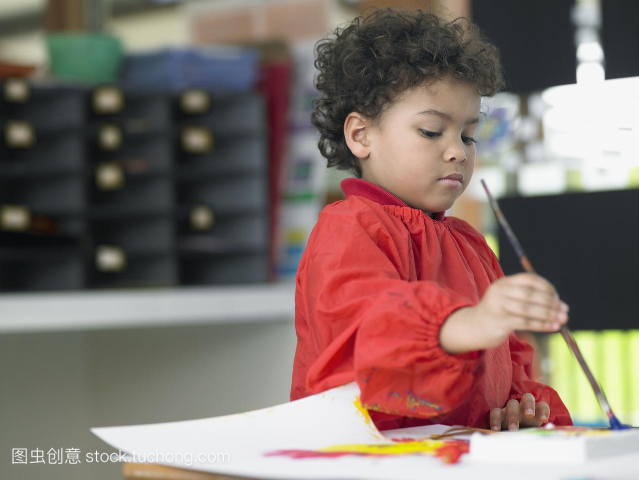 男孩,阶级,集中,专心,漆刷,专注,对焦,男人,刷子,
