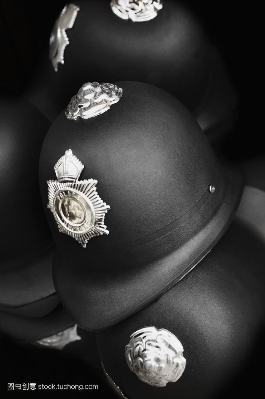英语警察的头盔。
