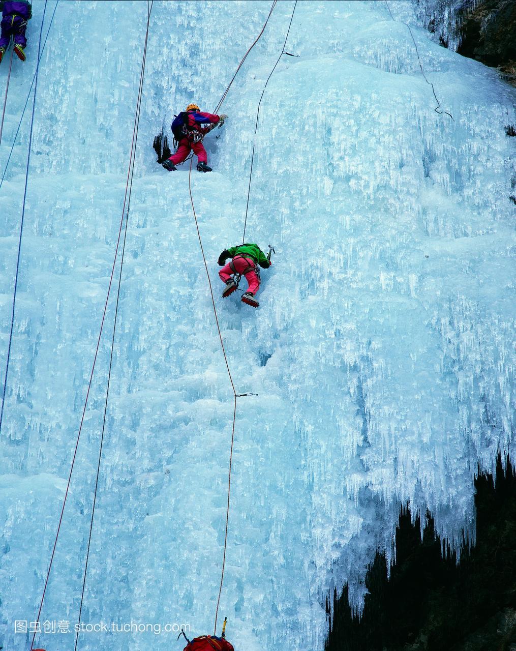 朝鲜,冰原,富有挑战性,冰,旅行,攀登,冒险,运动员