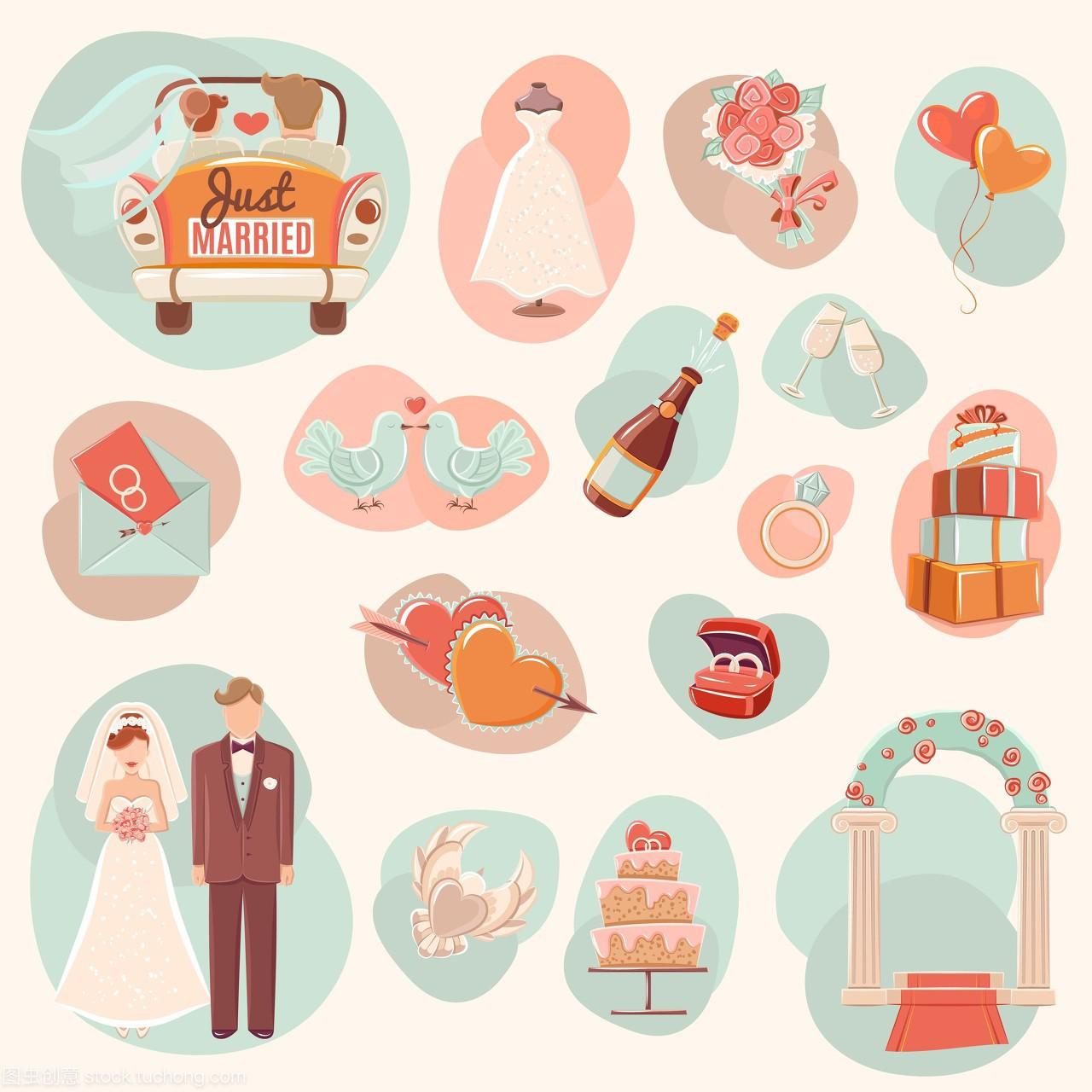 婚庆概念扁平图标,订婚婚礼派对和蜂蜜月亮概