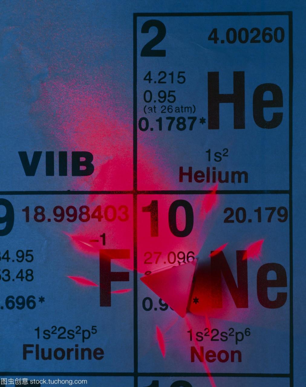 氦氖激光器的元素。原子元素氦和氖被看作是通