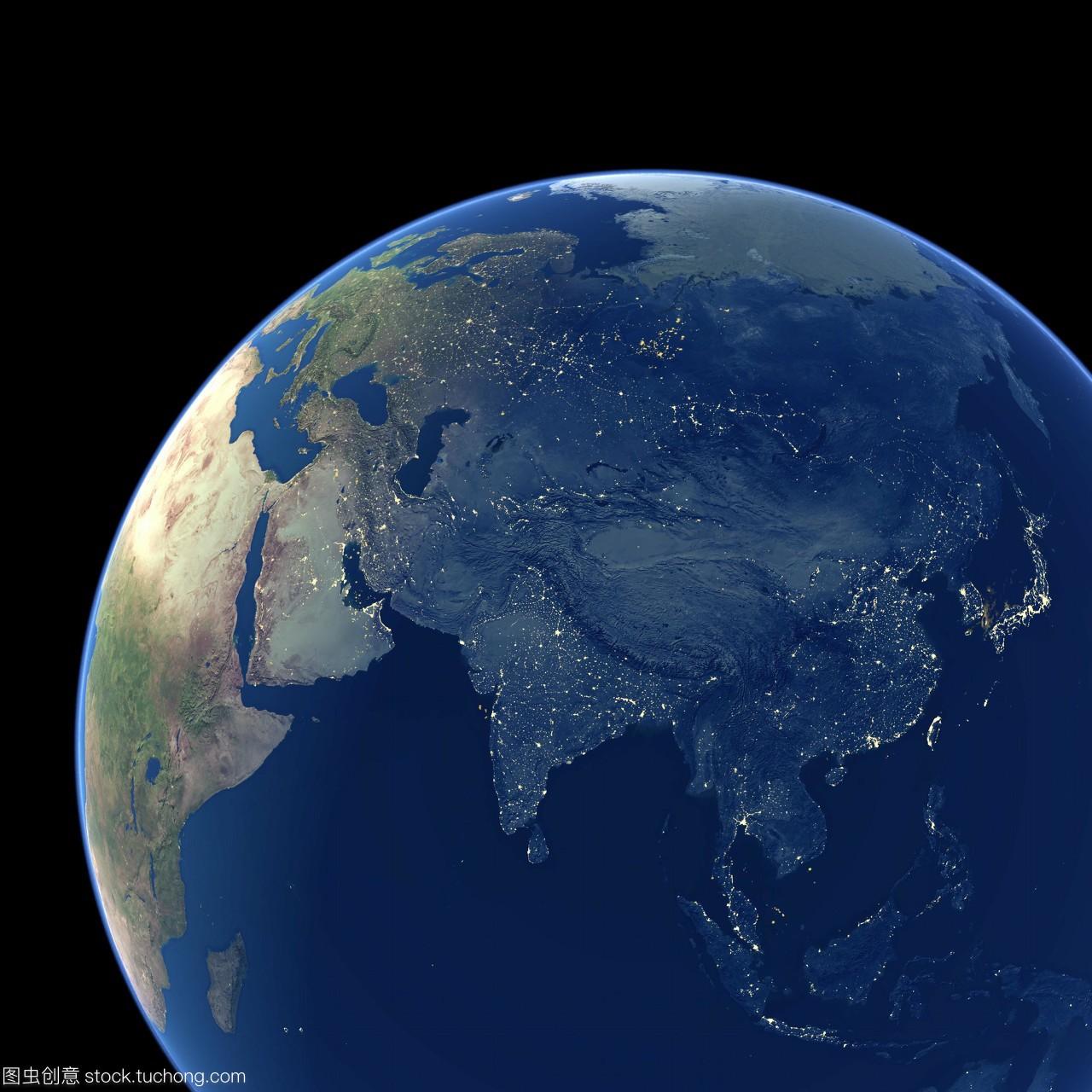 亚洲的夜晚城市的灯光黄色卫星图像显示区域的