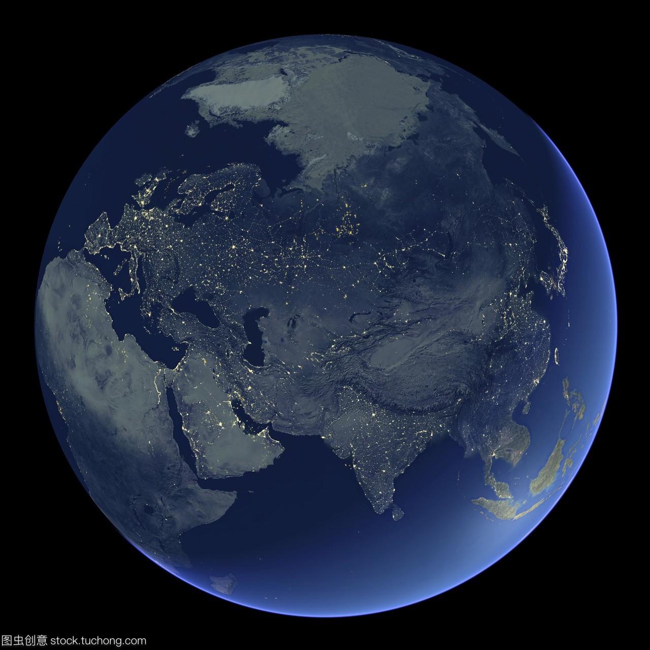 上晚上地球的卫星图像集中在亚洲大陆的城市灯