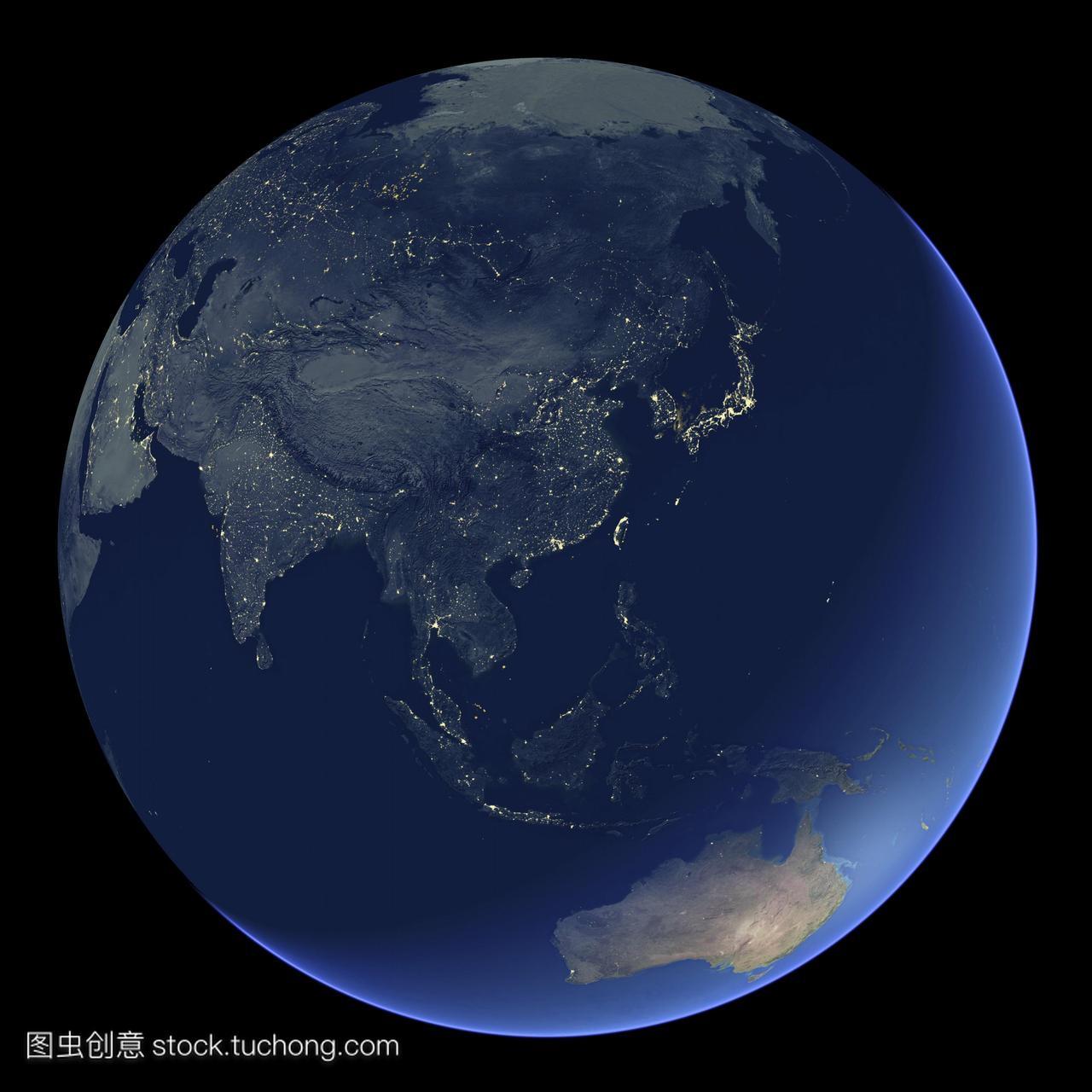晚上东亚。卫星图像在夜间,以中国为中心。城