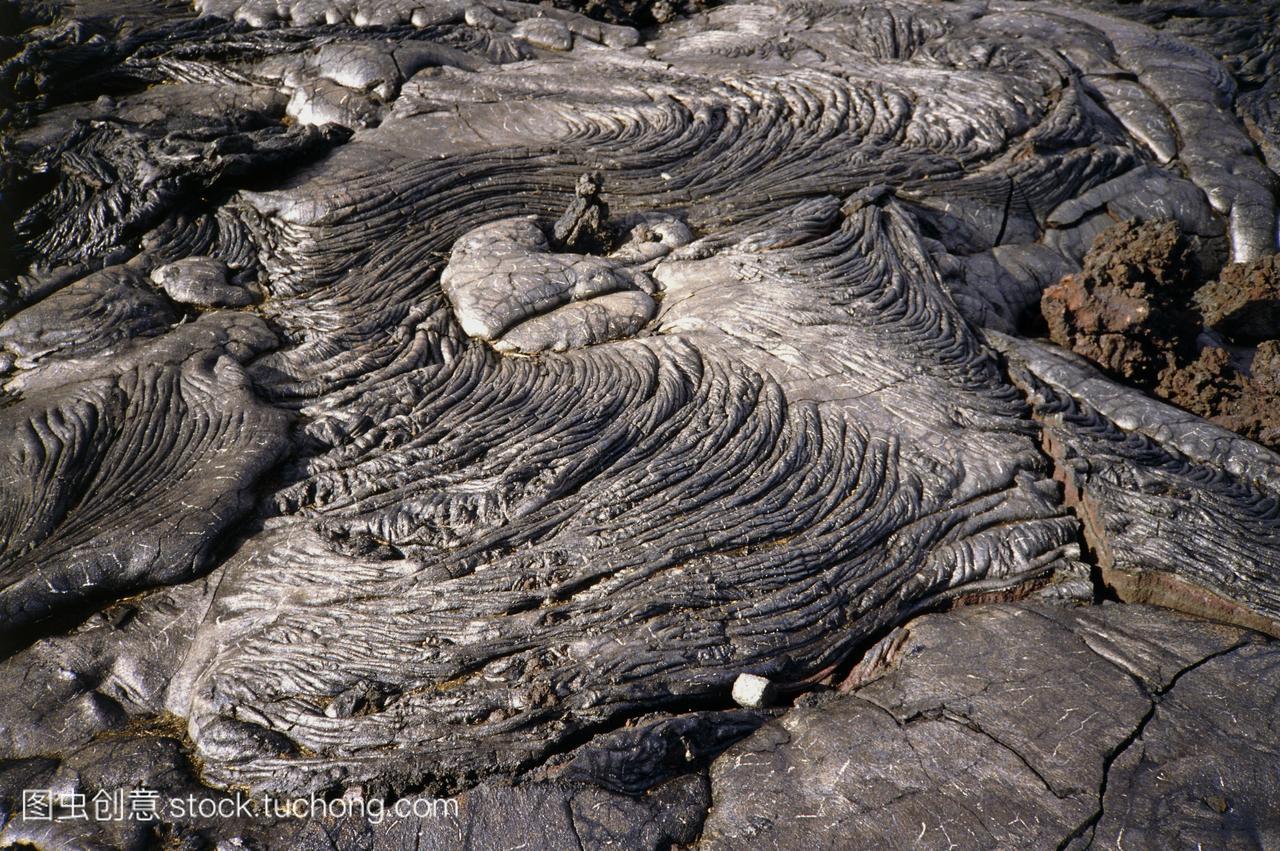 来自夏威夷火山的冷却pahoehoe熔岩的模式。