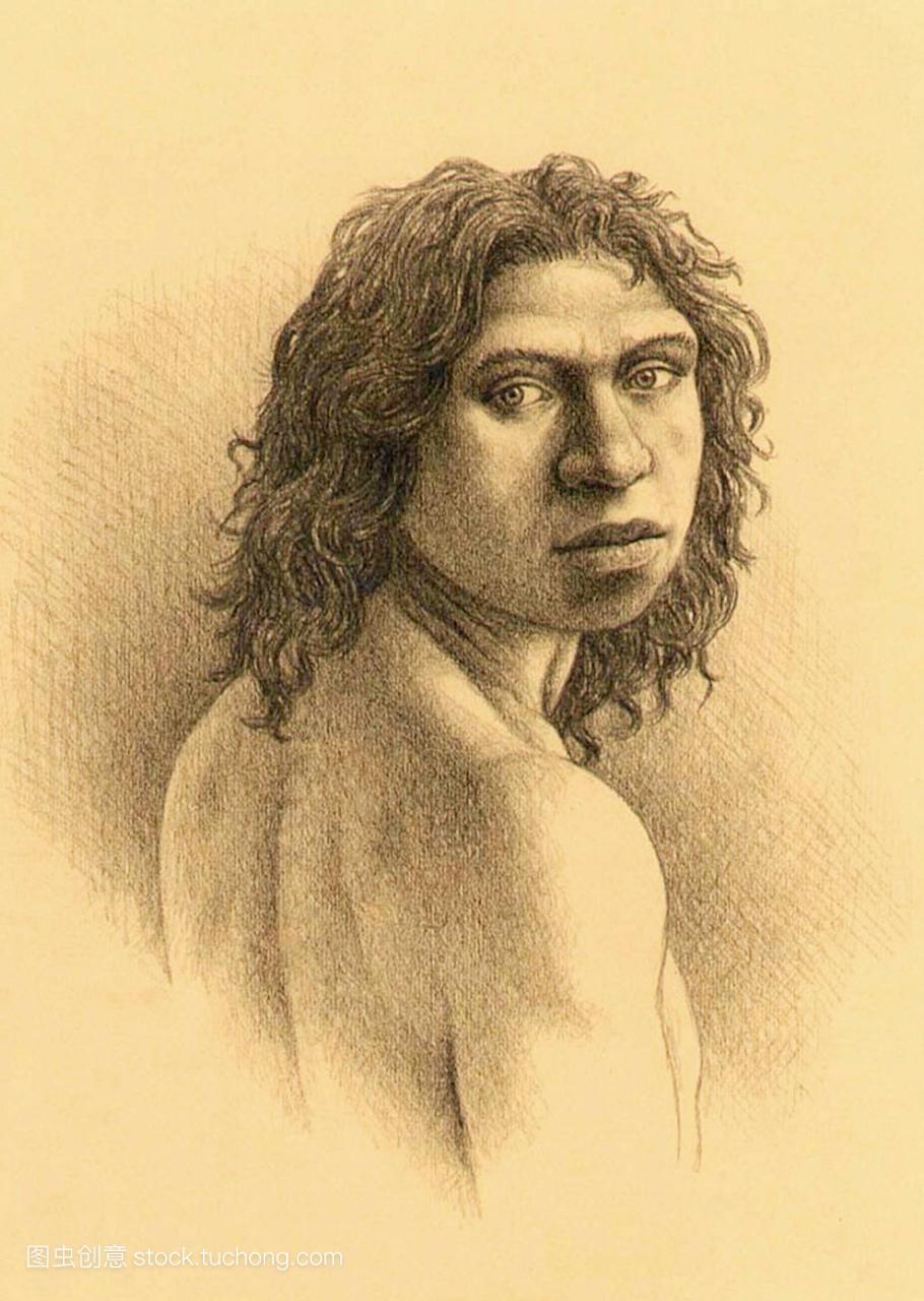 人类祖先。艺术家对成年女性的印象。这一原始