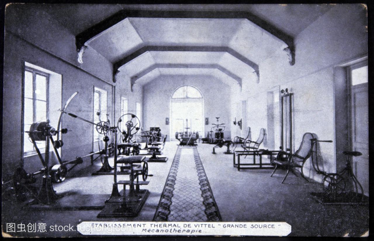 一个温泉浴场。20世纪早期明信片的健身房在