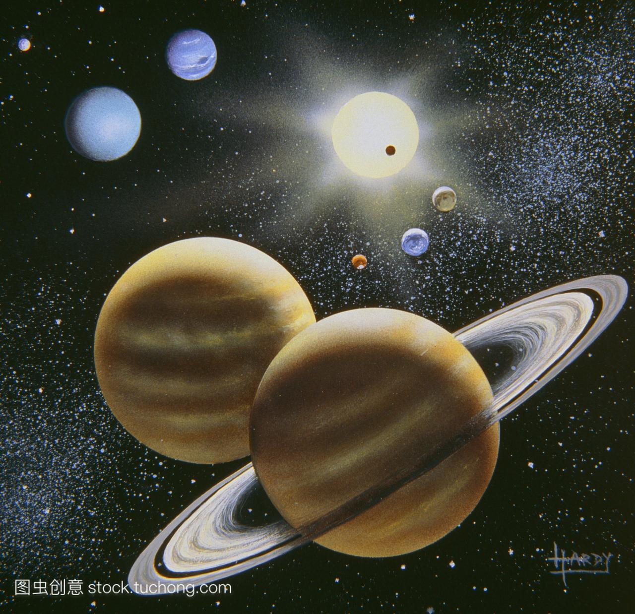 艺术品展示太阳系中的行星。在顶级中心发现太