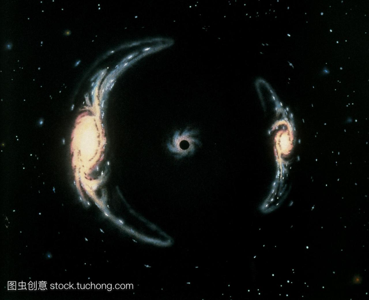 引力透镜。一个黑洞中心的艺术作品扭曲了在太