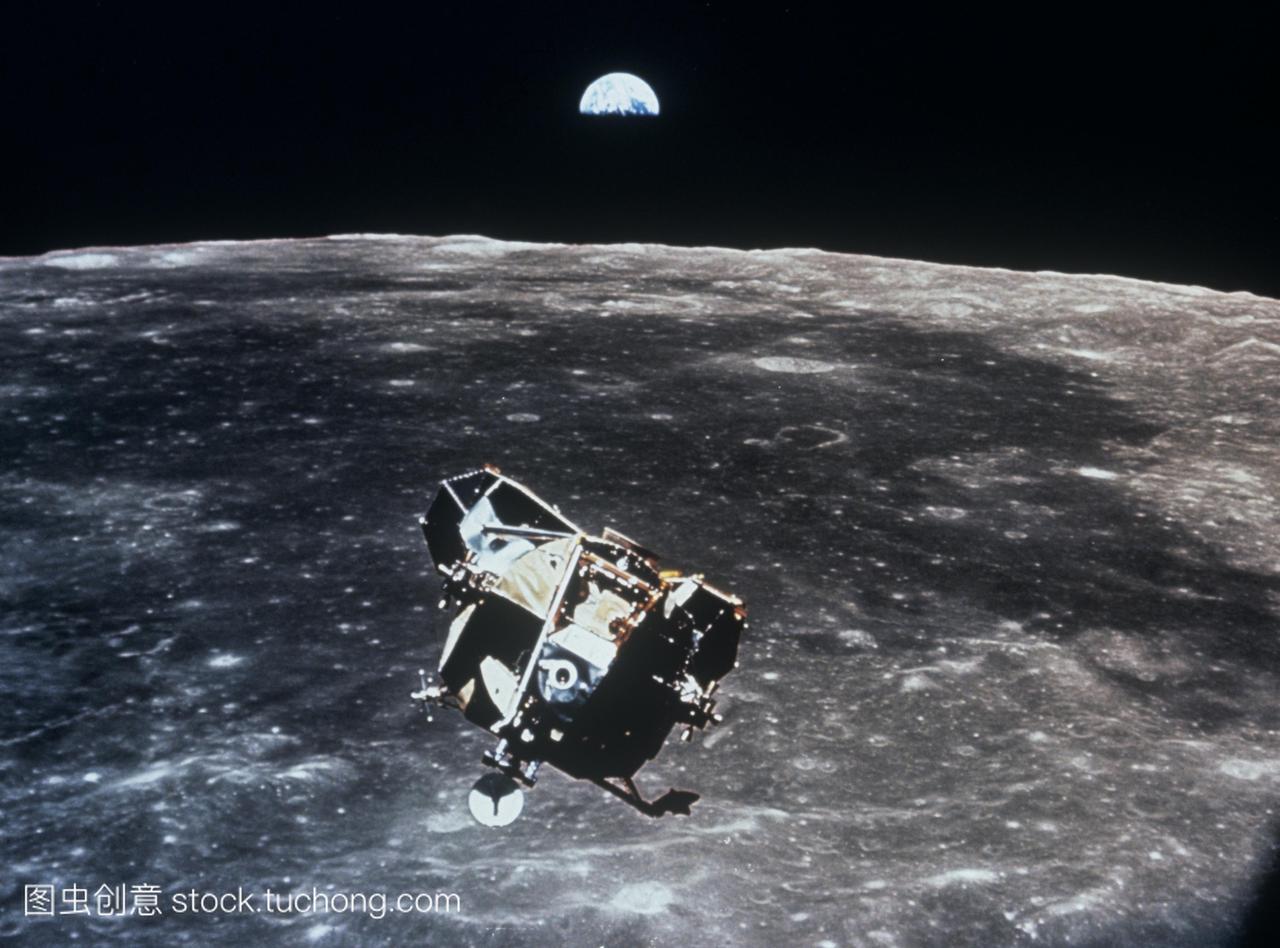 阿波罗11号的照片显示了登月舱上升段前会合
