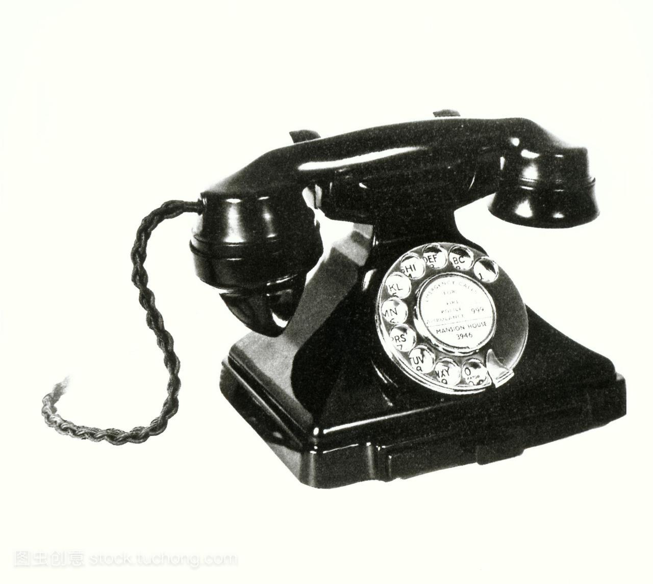 1950年代的电话。流行的手机在英国在1950年