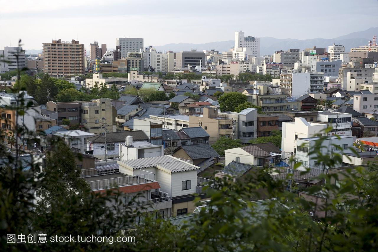 日本福井县的天际线