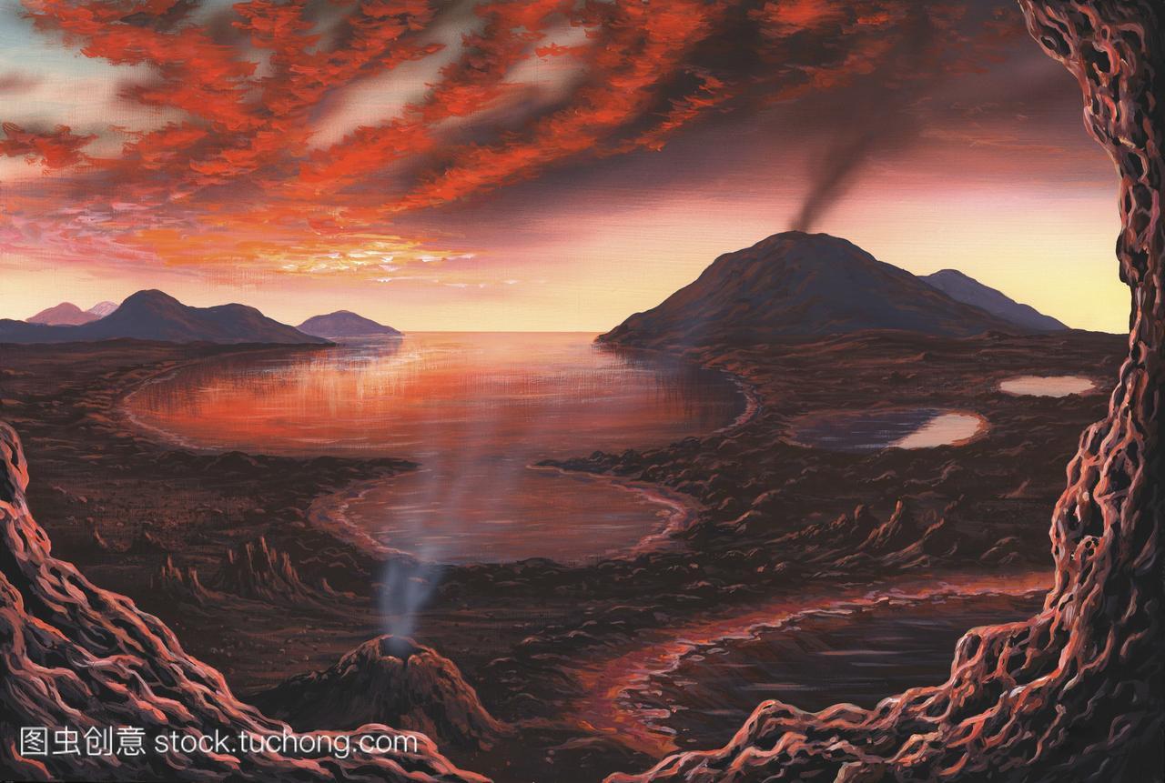 艺术品的一个视图在地球表面在早前寒武纪时代