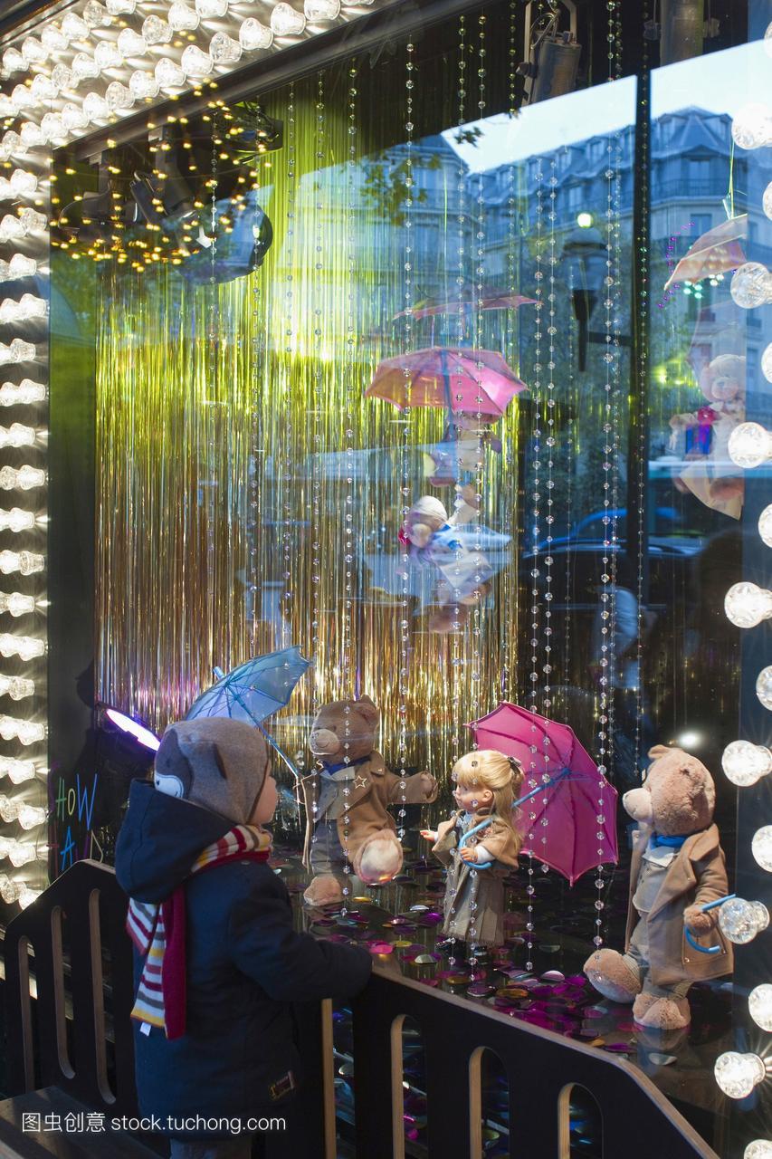 法国,巴黎,老佛爷百货,圣诞装饰