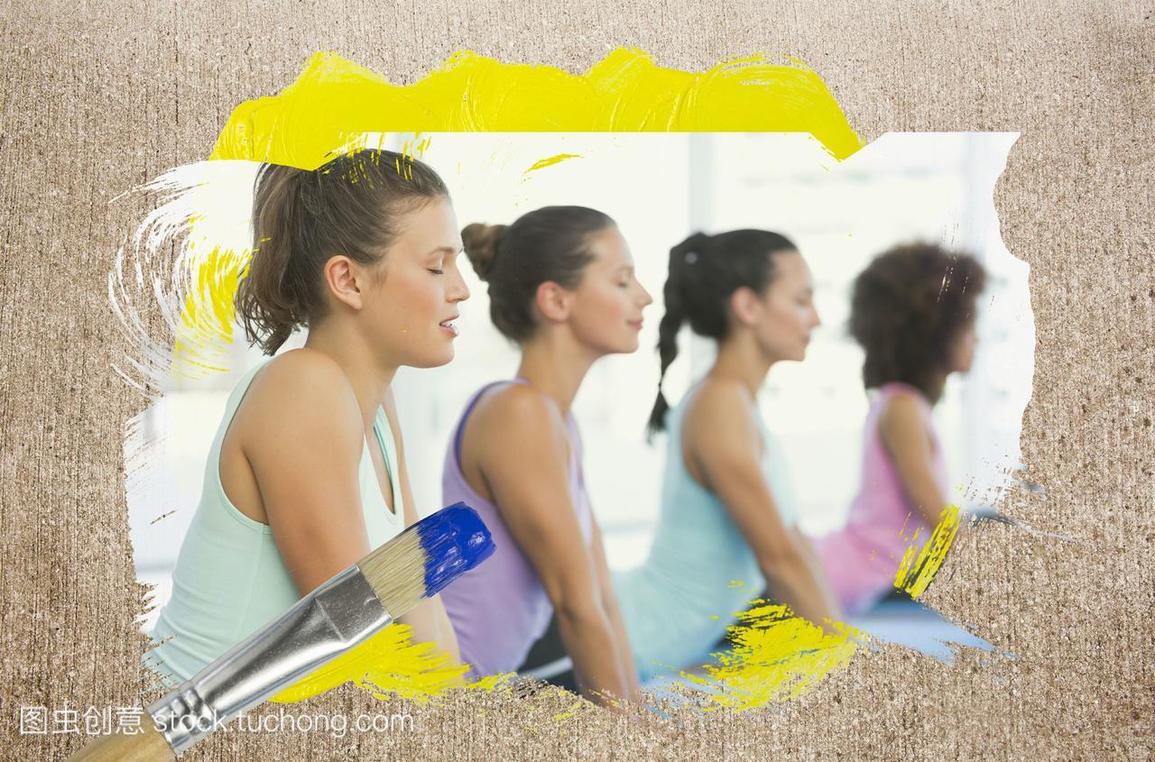 健身房里瑜伽课的合成图像